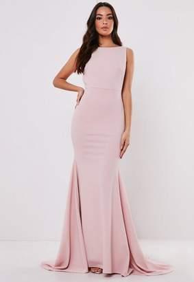 Missguided Petite Blush Sleeveless Low Back Maxi Dress