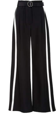 Sally LaPointe Striped Low-Rise Wide-Leg Crepe Pants