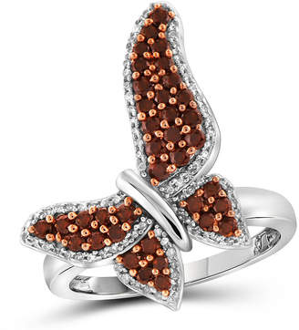FINE JEWELRY Womens Red Diamond Sterling Silver Cocktail Ring