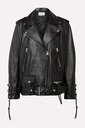 Acne Studios Lastrid Oversized Lace-up Leather Biker Jacket - Black