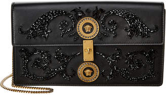 Versace Embroidered Icon Leather Shoulder Bag