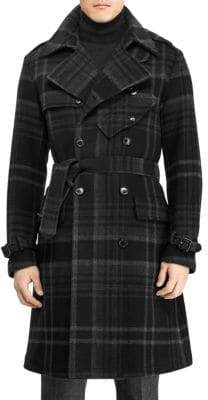 Ralph Lauren Purple Label Ingleton Plaid Wool Trench Coat