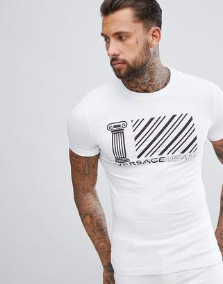 Versace T-Shirt In White With Greek Stripe Logo