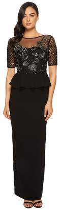 Adrianna Papell 3/4 Sleeve Beaded Bodice with Stretch Crepe Peplum Skirt Women's Dress
