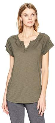 Hanes Women's Short Sleeve Peasant Henley Tee
