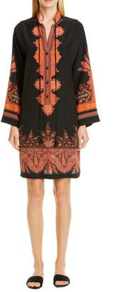 Etro Signature Paisley Long Sleeve Silk Dress