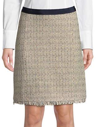 Max Mara Cotton-Blend Raw-Edge Skirt