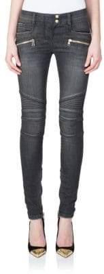 Balmain Seamed Moto Skinny Jeans