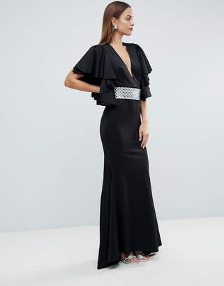 Asos Edition EDITION Deep Plunge Scuba Ruffle Sleeve Maxi Dress with Detachable Belt