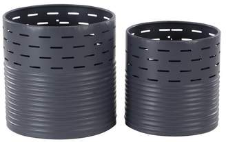 Brimfield & May Modern Pierced and Ribbed Design Cylindrical Iron Planters, 2-Piece Set