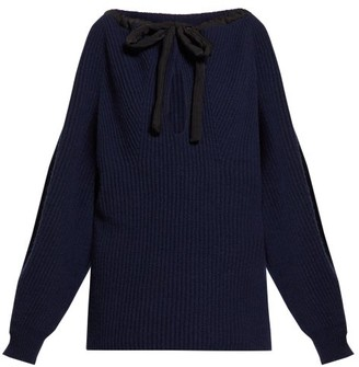 Stella McCartney Tie Neck Cashmere Blend Sweater - Womens - Navy