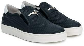 Cesare Paciotti Kids textured slip-on sneakers