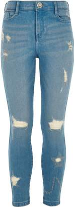 River Island Girls Blue ripped Amelie skinny jeans