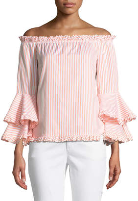 Caroline Constas Tina Striped Off-the-Shoulder Tiered-Sleeve Top