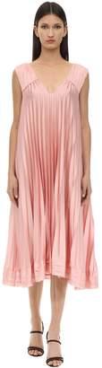 L'Autre Chose Pleated Satin Dress W/bows