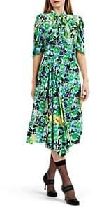 Prada Women's Gardenia-Print Silk Midi-Dress - Green