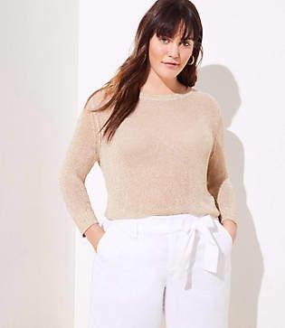 LOFT Plus Sparkle Open Knit Sweater
