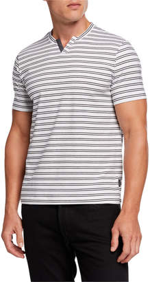 Kenneth Cole New York Men's Notched-Neck Striped Henley Shirt
