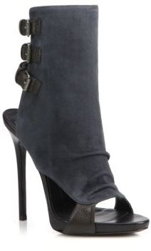 Suede & Leather Buckled Peep-Toe Booties $1,195 thestylecure.com