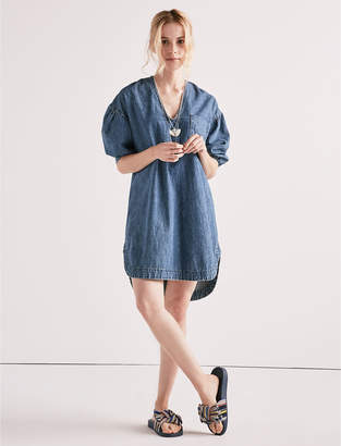 Lucky Brand POPOVER DENIM DRESS WITH FRONT POCKET
