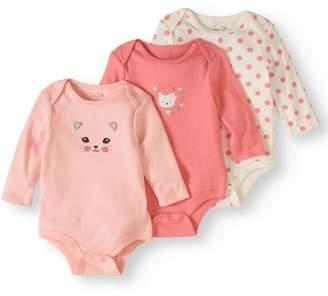 Rene Rofe Newborn Girl Long Sleeve Bodysuits, 3-pack