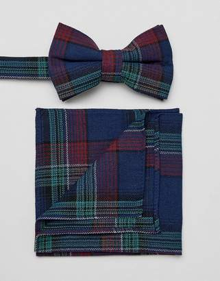 Asos DESIGN checked bow tie and pocket square