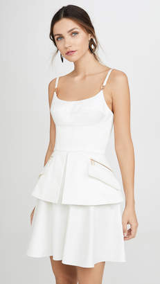 Brandon Maxwell Bustier Mini Dress with Peplum
