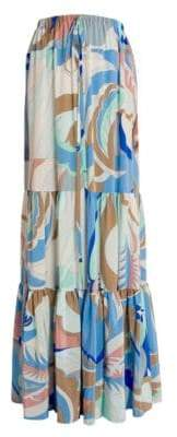 Emilio Pucci Women's Tiered Printed Maxi Skirt - Blue Pink - Size 38 (4)