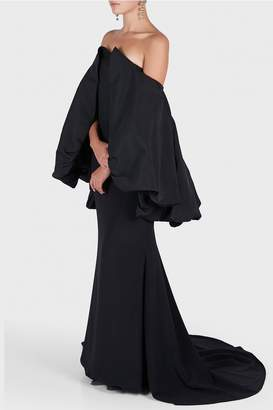 Christian Siriano Black Bubble Back Gown