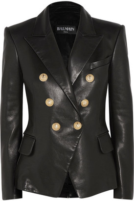 Balmain - Double-breasted Leather Blazer - Black $3,985 thestylecure.com