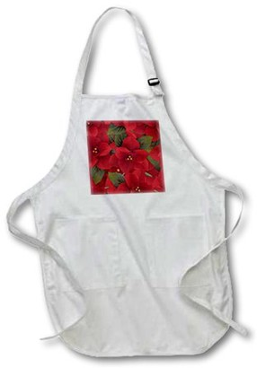 3dRose Christmas Poinsetta Pattern , Full Length Apron, 22 by 30-inch, White, With Pockets