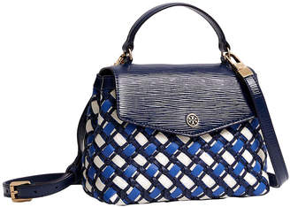 Tory Burch Robinson Woven Small Top-Handle Leather Satchel
