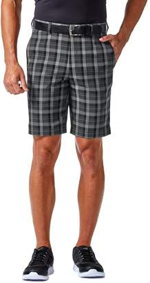 Haggar Men's Cool 18 PRO Straight-Fit Plaid Stretch Flat-Front Shorts