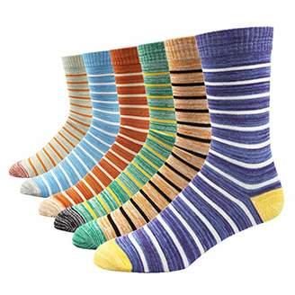 SOXART Men's Dress Socks 6 Pack Striped Multi Color Fun Style for