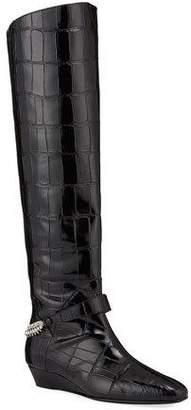 Giuseppe Zanotti Leather Moc Croc Knee Boots