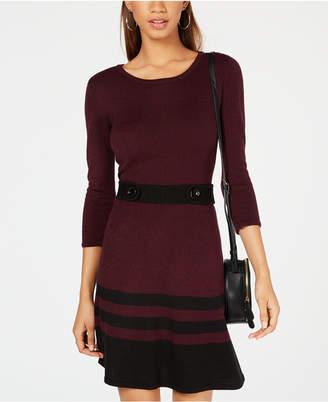 BCX Juniors' Button-Waist Fit & Flare Sweater Dress
