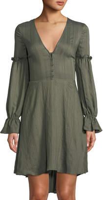 BCBGMAXAZRIA Long-Sleeve Ruffle High-Low Peasant Dress