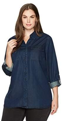 NYDJ Women's Plus Size Chambray Denim Shirt