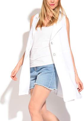 White Linen Pocket Button-Up Vest