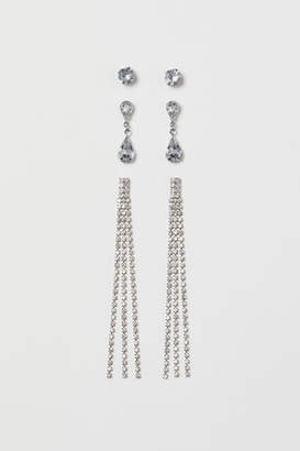 H&M 3 Pairs Rhinestone Earrings - Silver