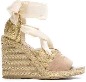 Paloma Barceló wraparound laced wedge sandals
