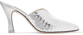 ATTICO Monica Mirrored-leather Mules - Silver