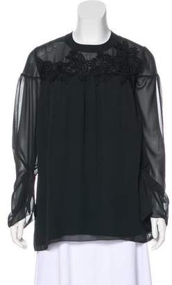 Marchesa Long Sleeve Embroidered Blouse w/ Tags