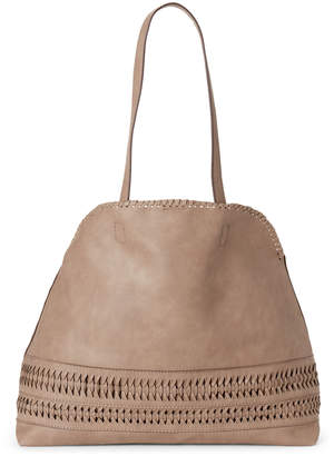 Street Level Woven Faux Leather Tote
