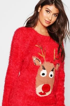 boohoo Reindeer Fluffy Knit Christmas Jumper