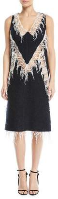 Calvin Klein V-Neck Sleeveless Wool Boucle Dress w/ Popcorn Lace Trim