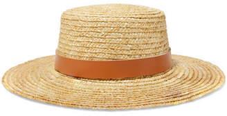 LACK OF COLOR Spencer Leather-trimmed Straw Hat - Tan