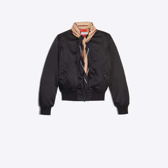 Balenciaga Iconic bomber jacket updated with the seasonal printed scarf collar