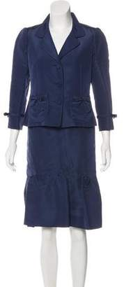 Oscar de la Renta Silk Flared Skirt Suit