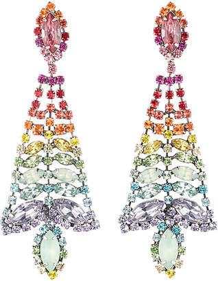 Dannijo Silver Plated Crystal Rainbow Drop Earrings